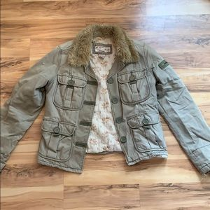 abercrombie and fitch jacket with fur collar.